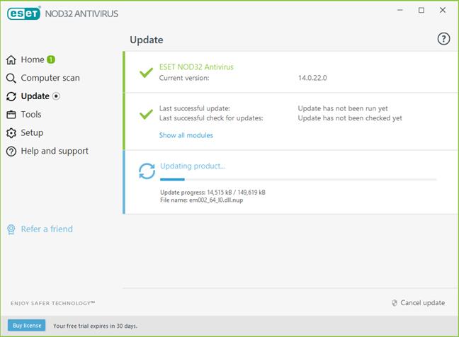 ESET NOD32 Antivirus își actualizează baza de date malware