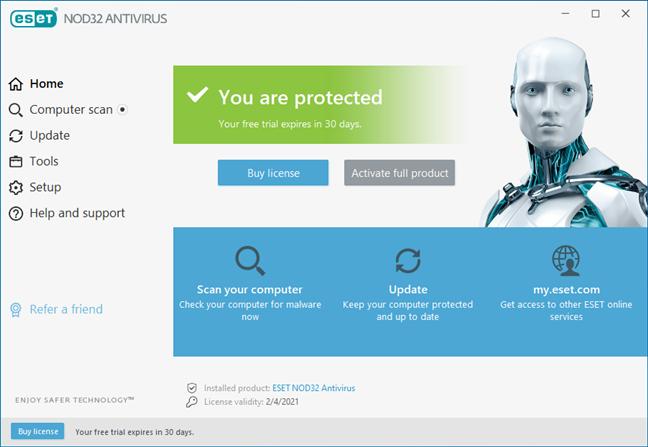 Pagina de pornire a interfeței de utilizare ESET NOD32 Antivirus