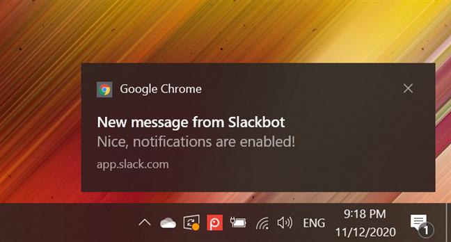 Notificările Google Chrome din Windows 10 apar în dreapta jos