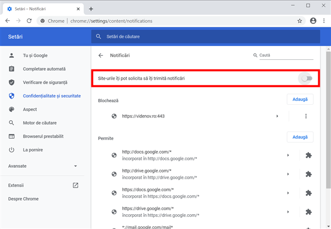Blochează notificările și solicitările Chrome despre ele