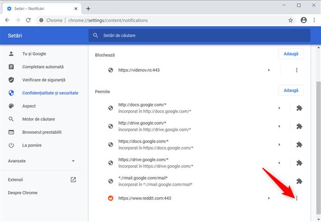 Apasă Mai multe acțiuni pentru a opri notificările Chrome pentru Reddit