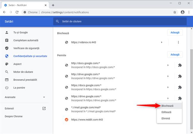 Închide notificările Chrome din setările browserului