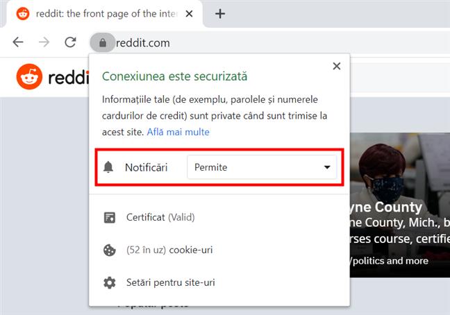 Apasă pe câmp pentru a schimba setările notificărilor Chrome
