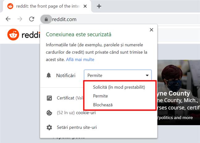 În Chrome, oprește ușor notificările de la un site web accesându-l