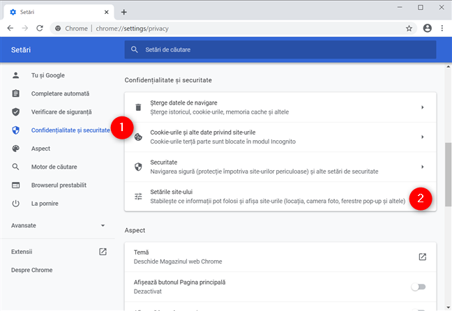 Cum oprești notificările Chrome din meniul Setări