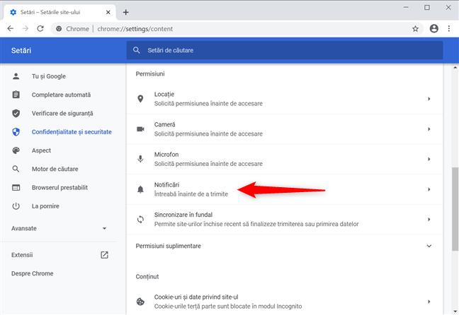 Cum elimini notificările din setările Chrome