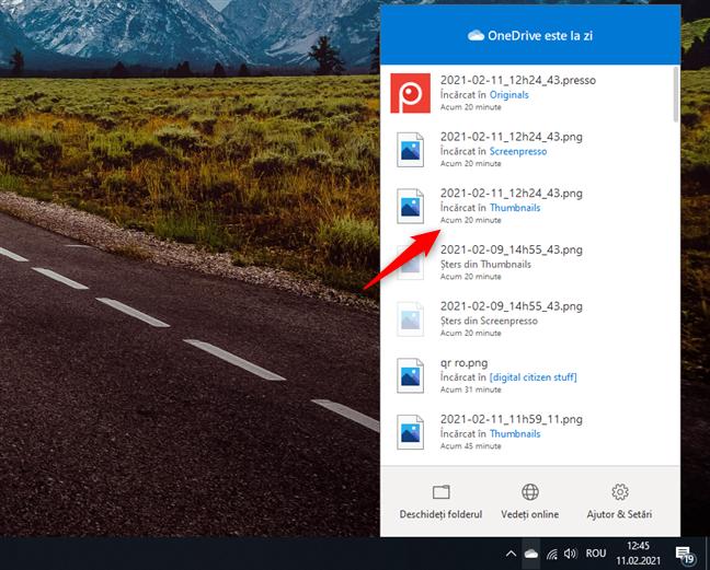 Ultima dată când a fost sincronizat un fișier de OneDrive în Windows 10