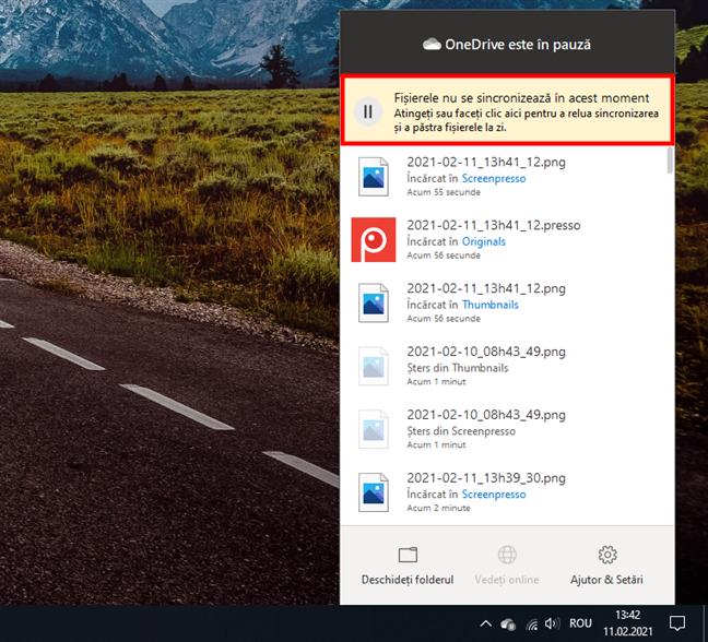 OneDrive: Fișierele nu se sincronizează în acest moment