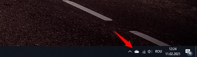 Pictograma OneDrive de pe bara de activități a Windows 10