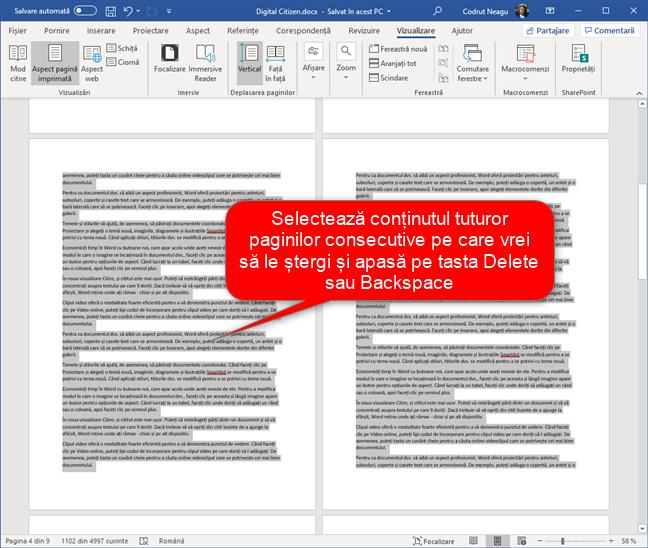 Selectarea și ștergerea mai multor pagini din Word