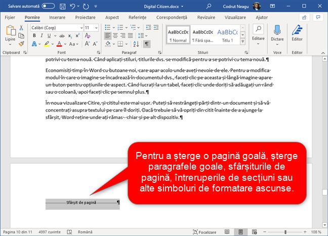 Ștergerea de paragrafe, sfârșituri de pagină etc. ce nu sunt necesare