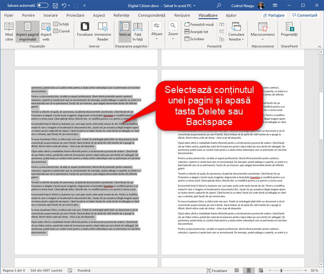 Selectează conținutul unei pagini din Word și șterge-o