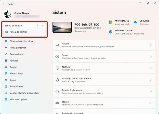 Deschide Panoul de control în Windows 11 folosind căutarea din Setări