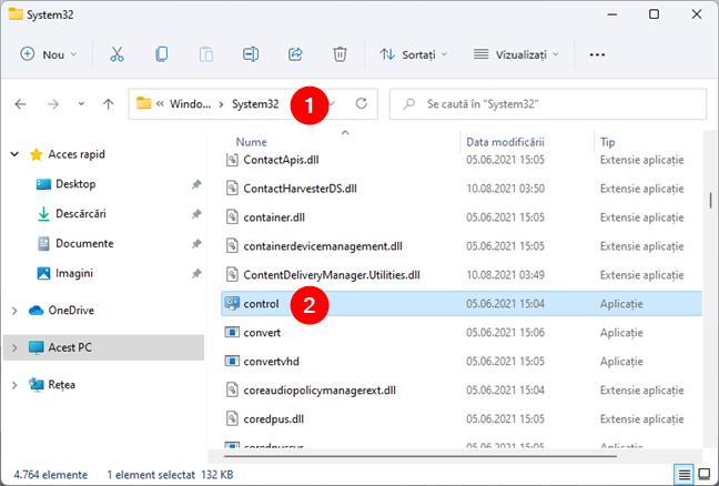 Fișierul control.exe în Windows 11