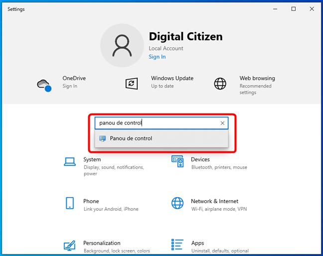 Deschide Panoul de control în Windows 10 din Setări