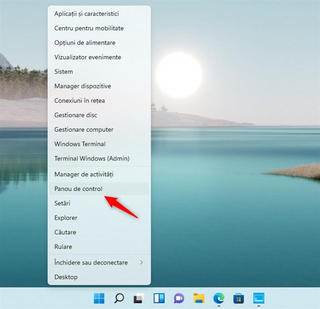 Adăugarea unei scurtături către Panoul de control în meniul WinX din Windows 11