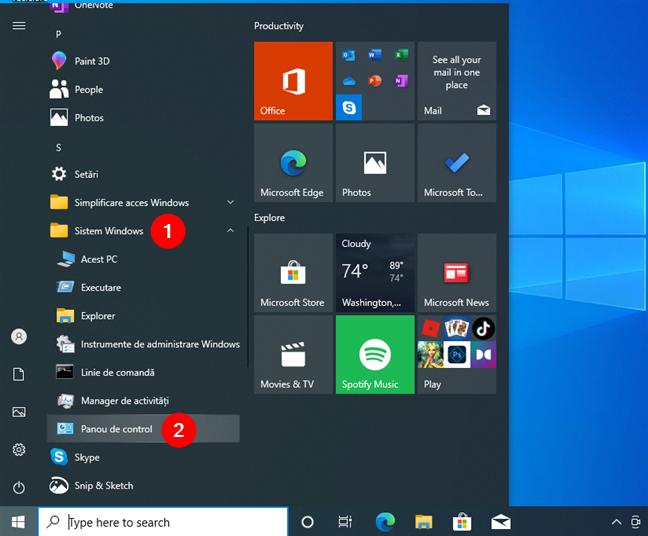 În folderul Sistem Windows din Meniul Start, există o scurtătură către Panoul de control