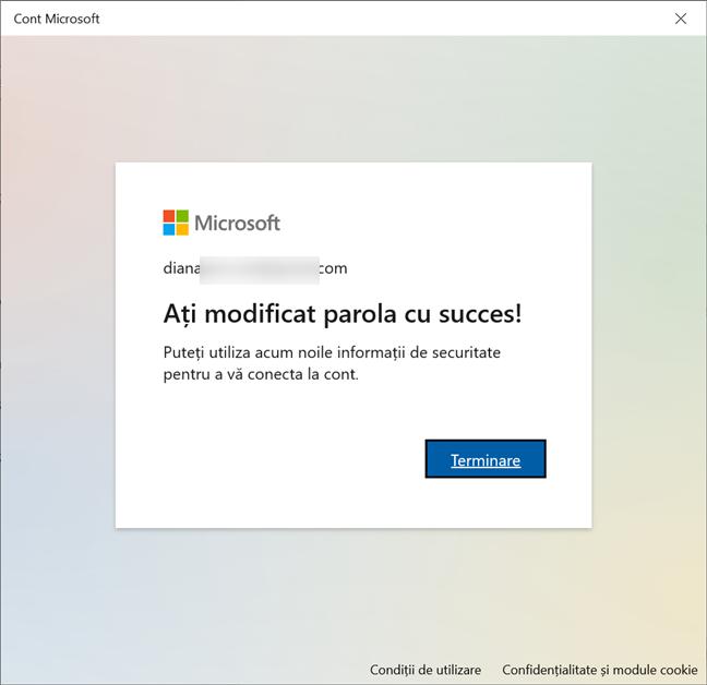 Parola contului tău Microsoft a fost schimbată