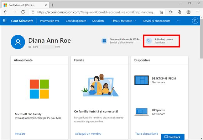Apasă pe Schimbați parola pentru a alege o altă parolă pentru contul Microsoft