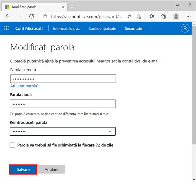 Cum schimbi parola contului tău Microsoft din browser