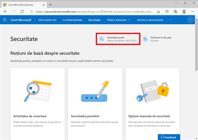 Microsoft îți arată când ți-ai schimbat parola ultima oară