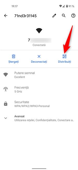 Apasă pe Distribuiți pentru a vedea parola Wi-Fi pe Android
