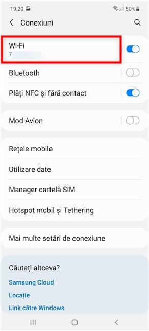 Apasă pe Wi-Fi pentru a accesa setările Wi-Fi de pe Samsung