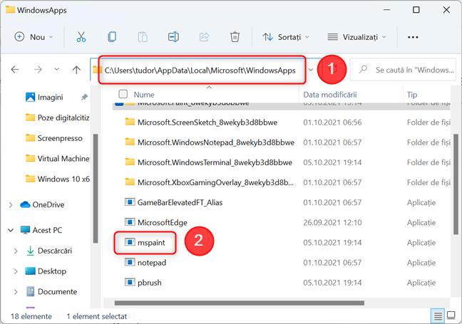 Locația executabilului Paint în Windows 11
