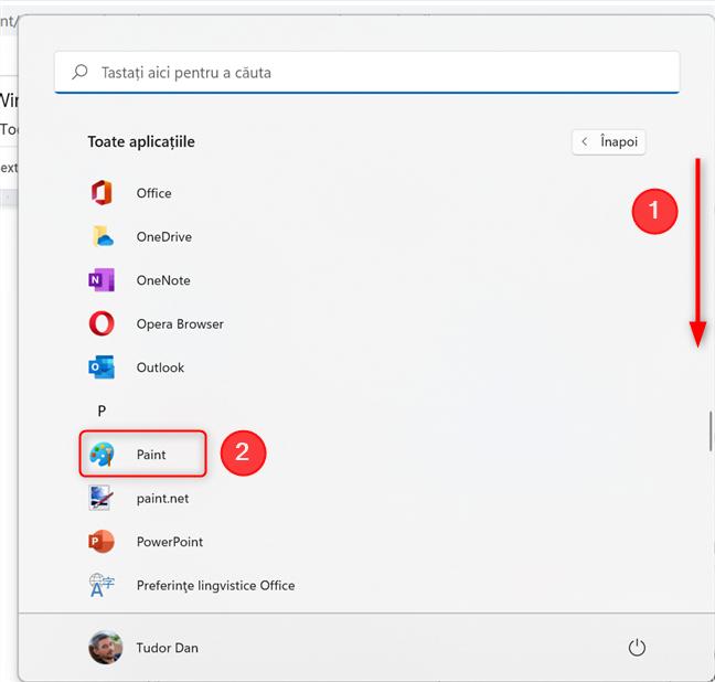 Apasă pe pictograma Paint din lista de aplicații