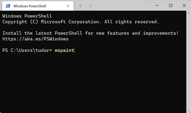 Comanda mspaint deschide Paint în Terminal, PowerShell și Linia de comandă