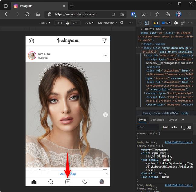 Butonul + (Postare Nouă) poate fi accesat și în Microsoft Edge