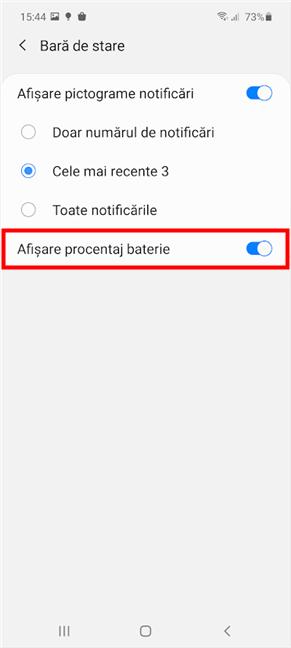 Activează comutatorul pentru a afișa procentajul bateriei