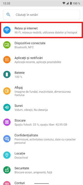 Accesează Rețea și internet din Setările de pe Android