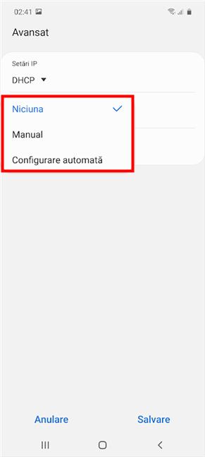 Alege un tip de configurare dintre opțiunile disponibile