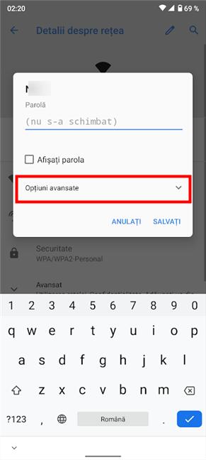 Accesează Opțiuni avansate pentru a seta un server proxy pentru Wi-Fi pe Android