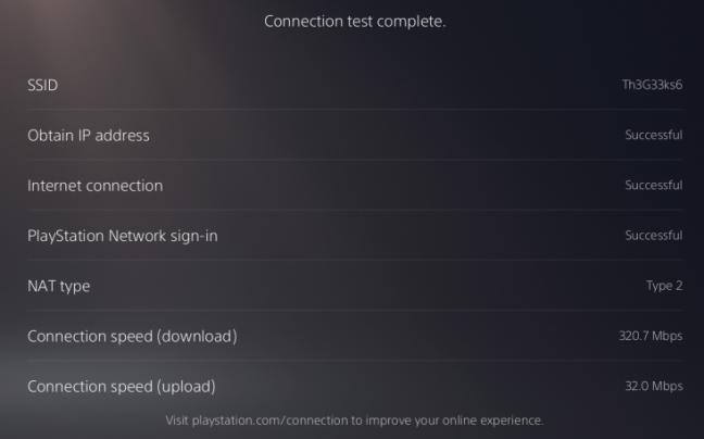 Testul conexiunii la internet de pe PS5