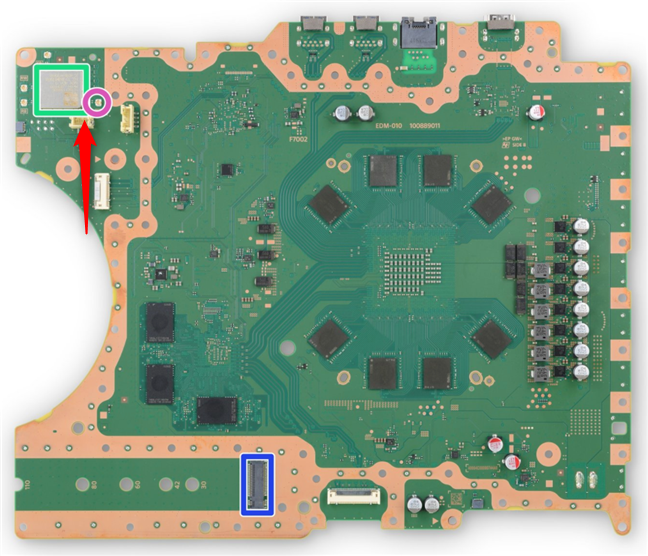 Credit: iFixit - modulul Sony J20H100 Wi-Fi 6 din PS5