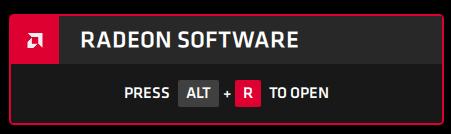 Apasă ALT+R pentru a deschide Radeon Software