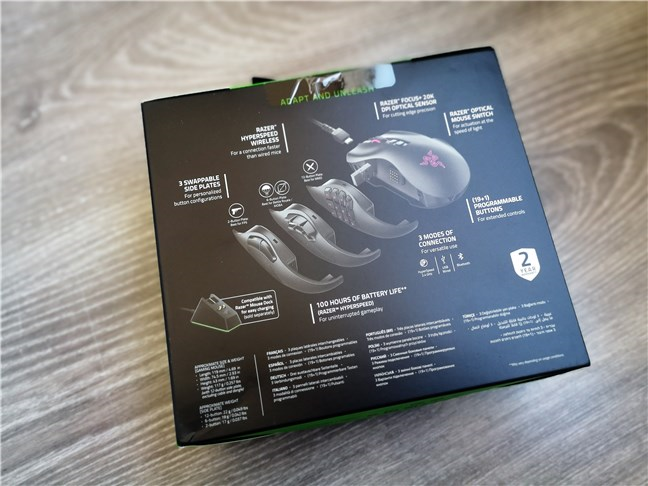 Razer Naga Pro: Spatele cutiei