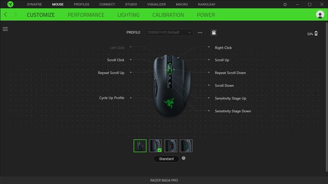 Opțiuni de personalizare pentru Razer Naga Pro în Synapse