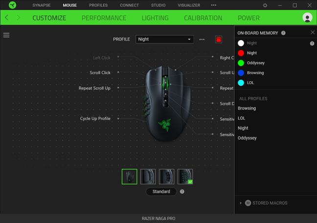 Razer Naga Pro poate stoca cinci profiluri de setări în memoria sa onboard
