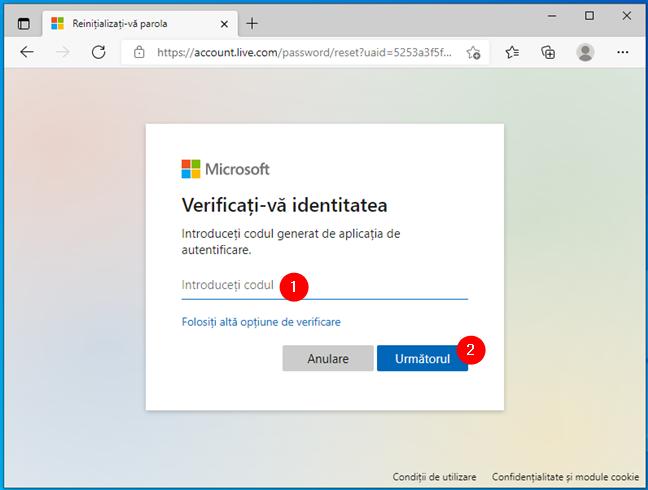 Tastarea unui cod de securitate din aplicația de autentificare