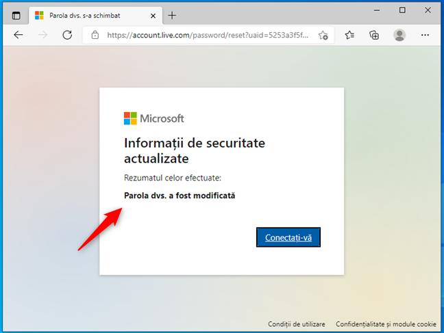 Parolă Microsoft resetată