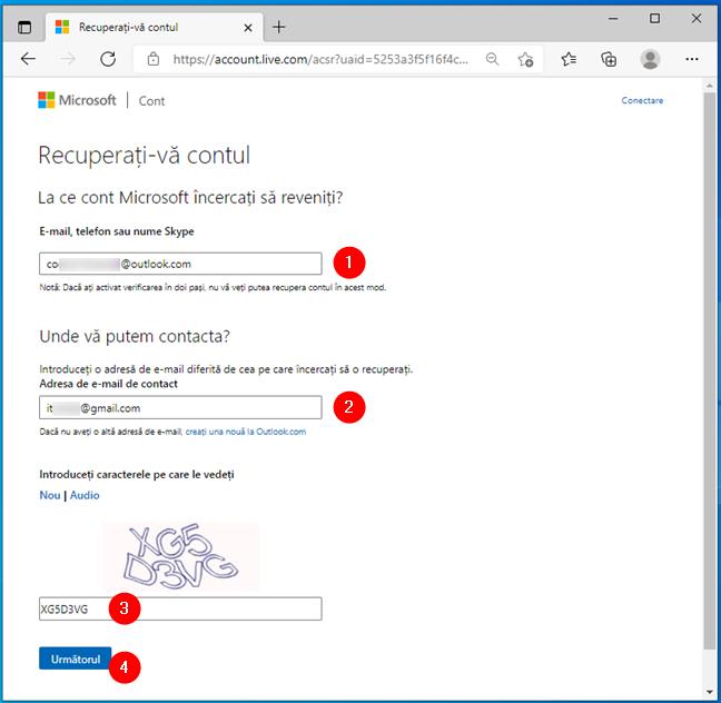 Detalii despre contul Microsoft