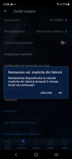 Confirmă că vrei să-ți resetezi routerul ASUS