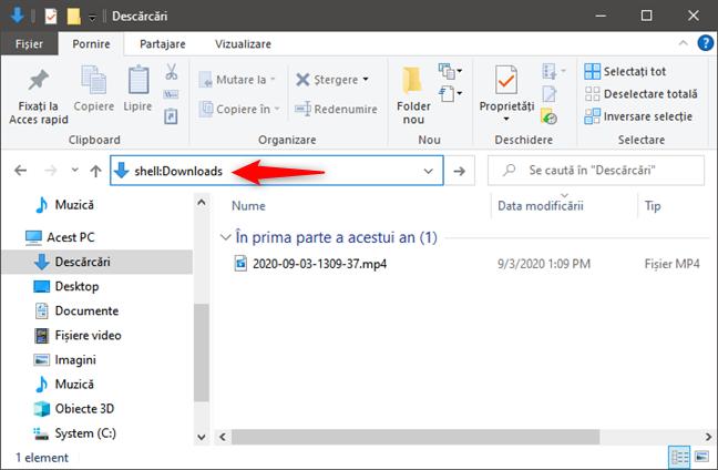 shell:Downloads te duce la folderul Descărcări din Windows 10