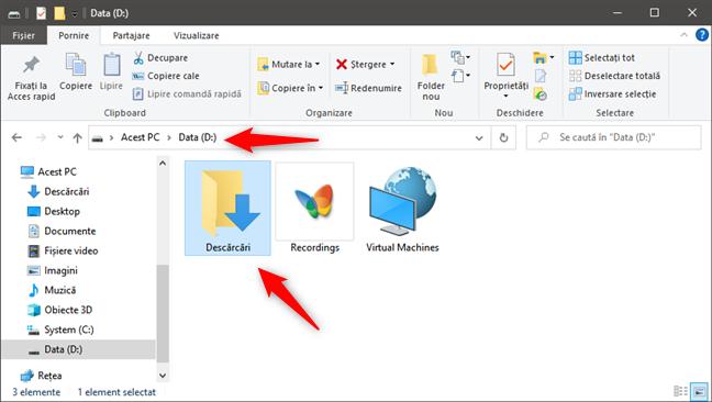 Folderul Descărcări se află într-o locație personalizată