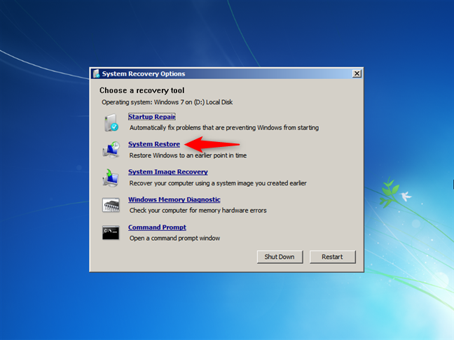 Deschidere System Restore (Restaurare sistem) la boot