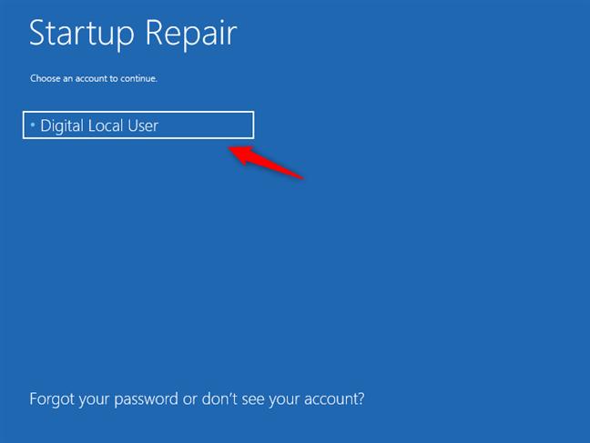Selectarea unui cont de utilizator