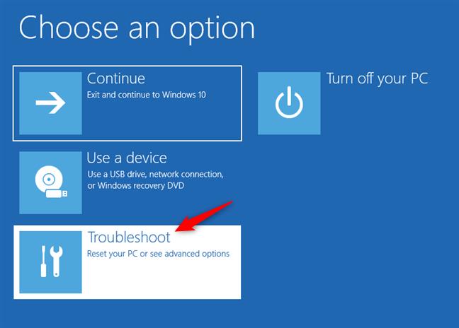 Troubleshoot: resetare PC pentru depanare cu opțiuni avansate